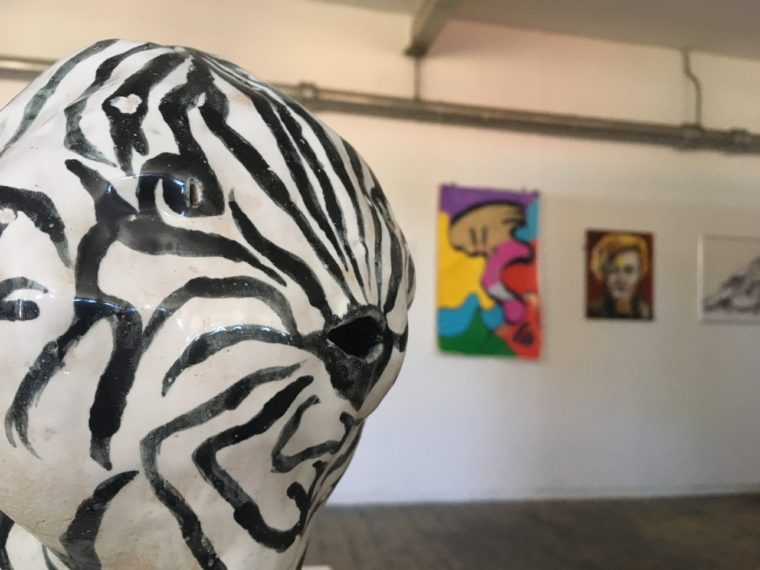 An image showing work from the 2018 members show installed at the gallery. In the foreground left is Laurie Ramsell's Zebrafish and on the back wall is Gina Smith's painting and Ted Ryan's painting, both blurry as in the background.