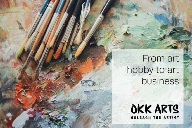 """An image of paintbrushes lying on a background of oild paints smiudged on the canvas. In the foreground it says """"From art hobby to art business, Okk Arts, unleash the artist"""