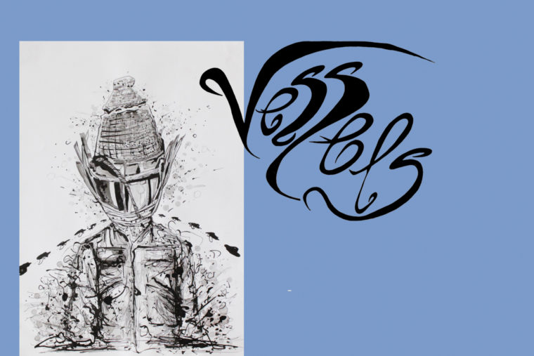 "E-Flyer for Ahmed Magare's solo exhibition ""Vessels"" at Ort Gallery. There is an ink drawing in the middle left of a boy in armour who appears to be in the middle of the road. To the right of him it says ""Vessels"" in calligraphy."