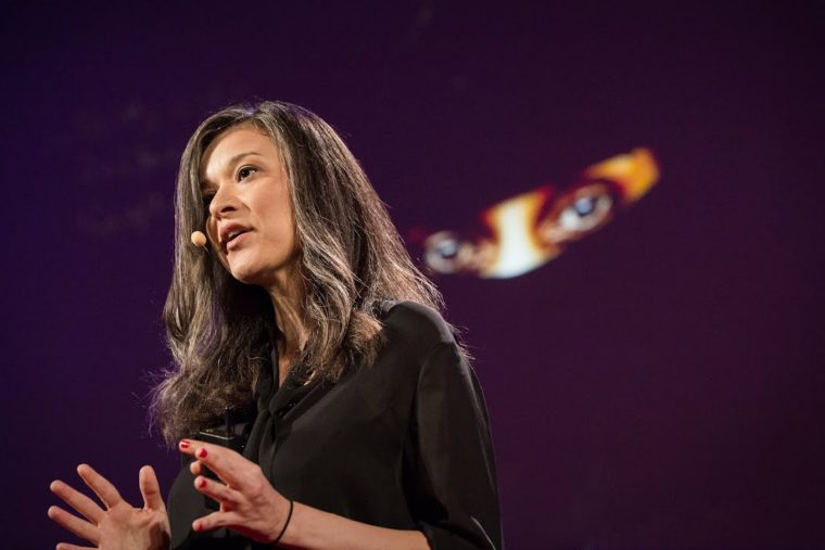 An image of Laura Boushnak giving a TED talk in 2014