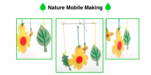 "Title say ""Nature Mobile Making"" and below there are three images of the finished mobile to be made during this workshop. Simple paper and string mobile. Yellow and green colours."